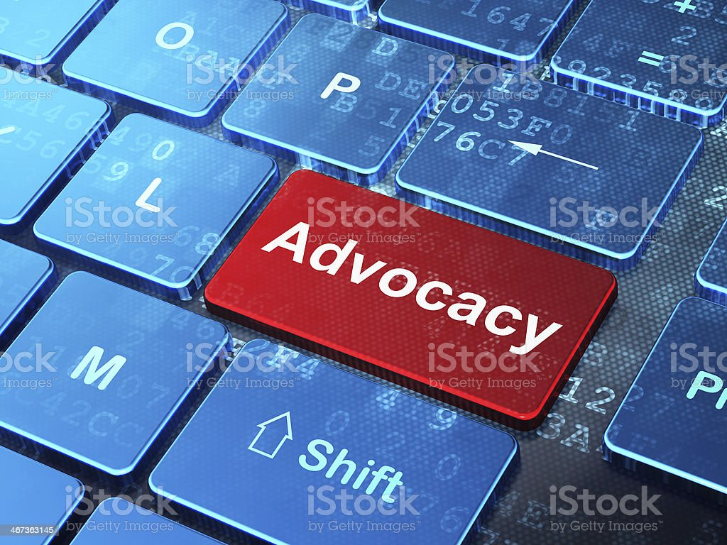 Law concept: Advocacy on computer keyboard background royalty-free stock photo