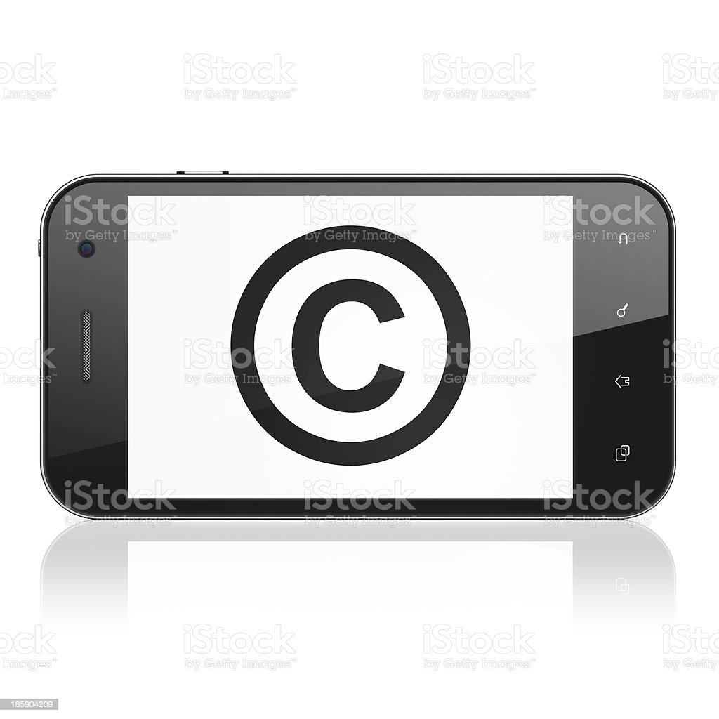 Law concept: Copyright on smartphone stock photo