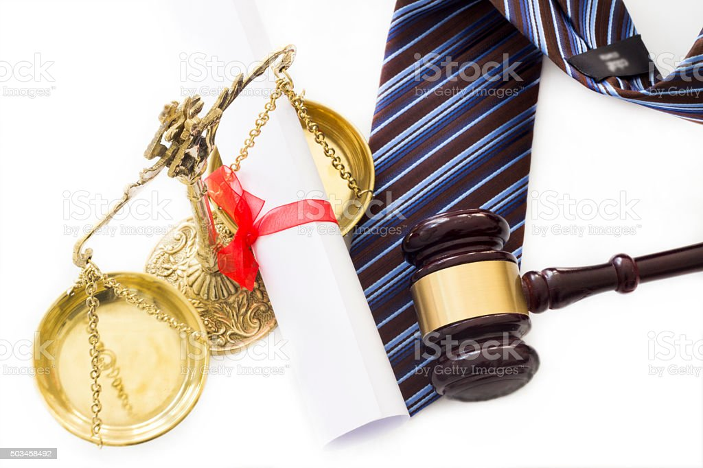 Law concept, scale, gavel, diploma and tie stock photo