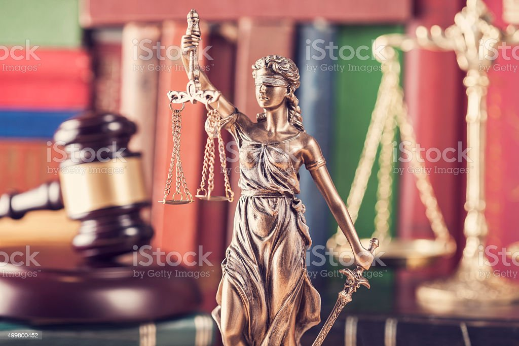 Law concept, statue, gavel, scale and books stock photo