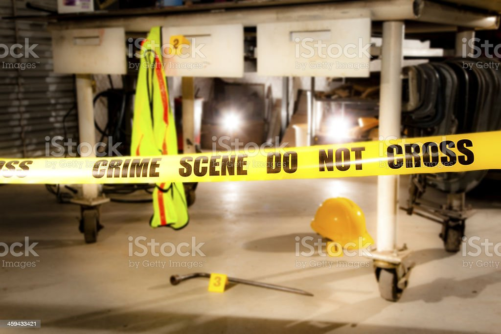 Law: Crime scene in an industrial workshop. stock photo