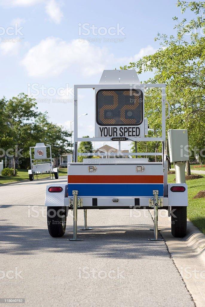 Law Enforcement Mobile Police Speed Radar Sign Trailer on Street stock photo
