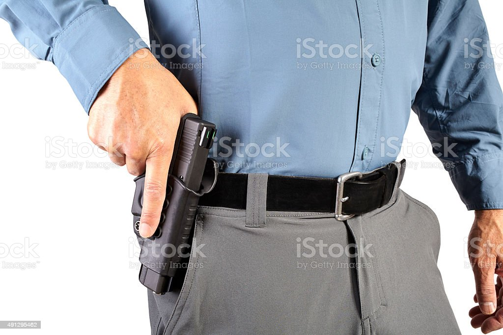 Law Enforcement Professional Man with Firearm Weapon stock photo