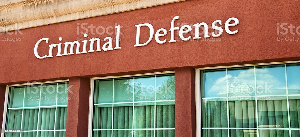 Law Firm Criminal Defense Attorney Sign stock photo