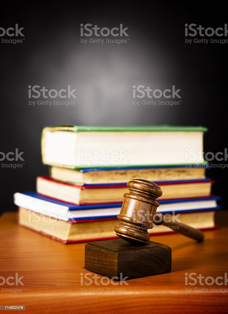 Law: Gavel and law books royalty-free stock photo