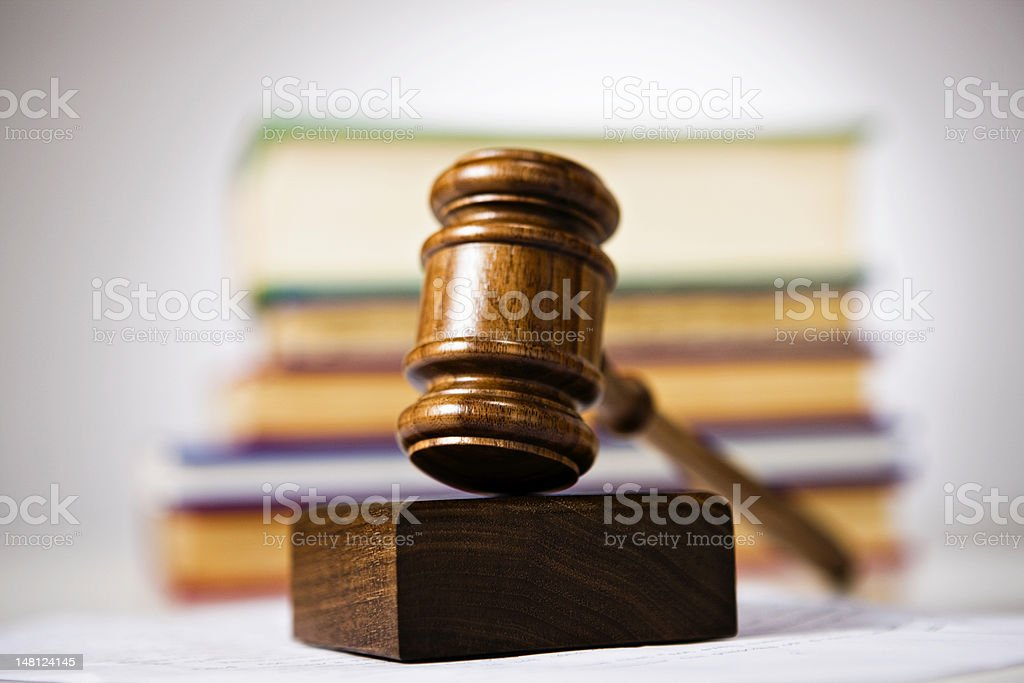Law: Gavel and law books stock photo