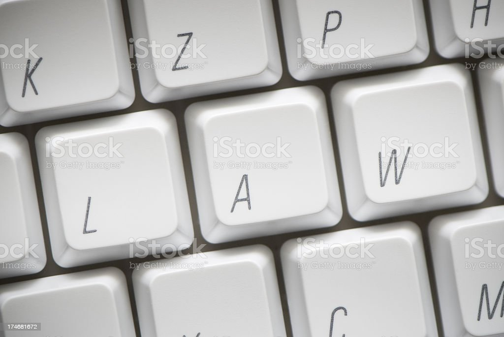 Law, letters on keyboard, concept macro royalty-free stock photo