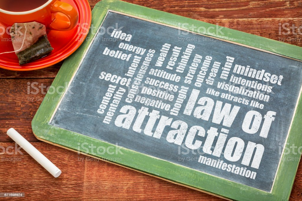 law of attraction word cloud on blackboard stock photo