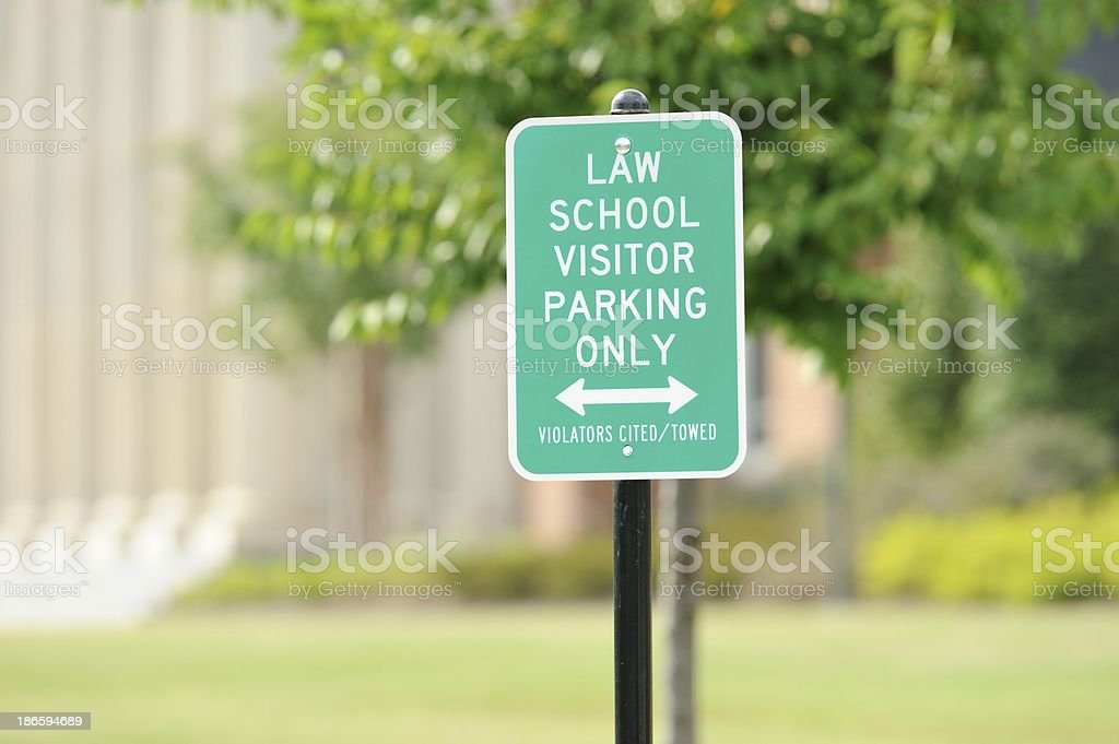 Law school visitor parking sign stock photo
