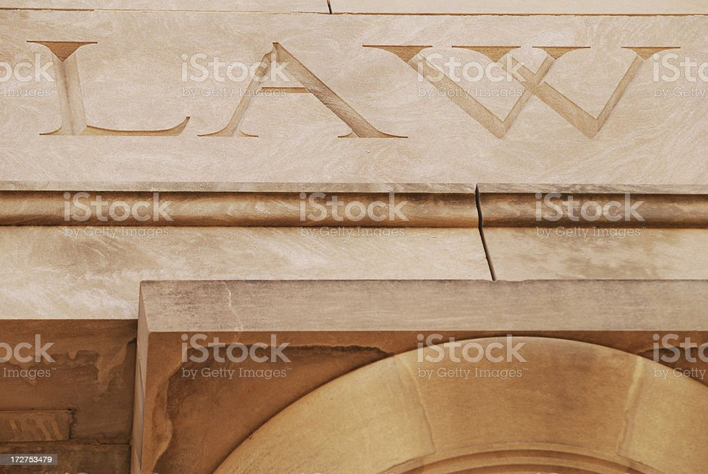 Law sign on building stock photo