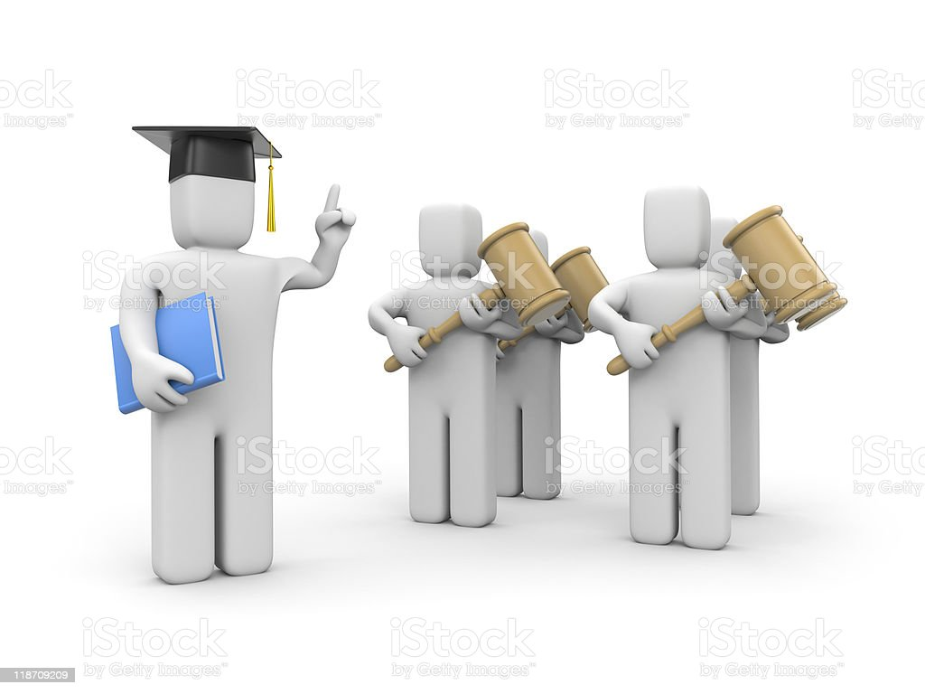 Law student and lecturer or academic royalty-free stock photo