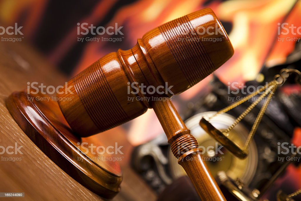 Law theme, mallet of judge, wooden gavel royalty-free stock photo