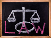 law word on blackboard