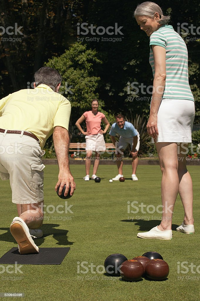 Lawn bowling couples stock photo