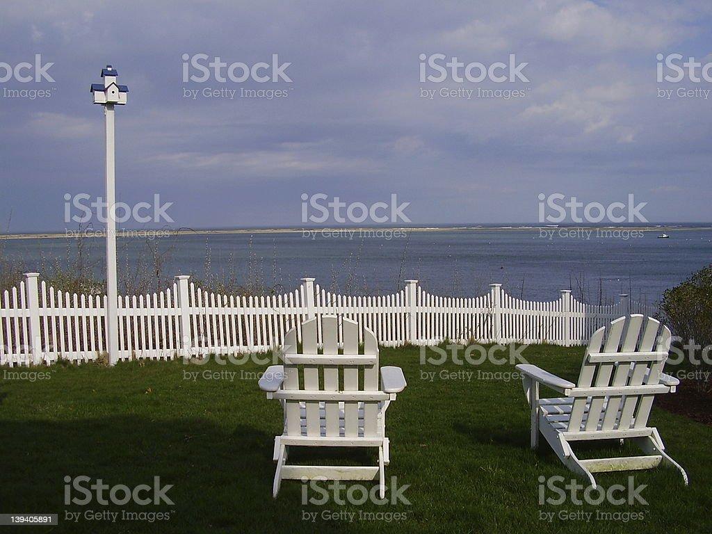 Lawn Chairs, Cape Cod stock photo