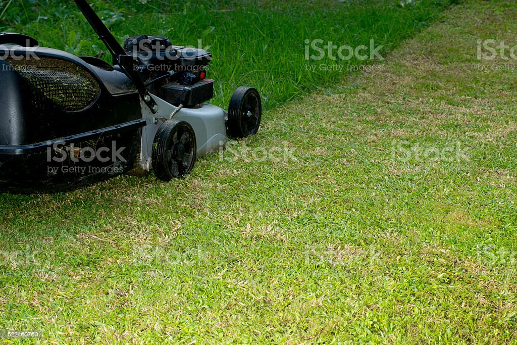 Lawn mower at work stock photo