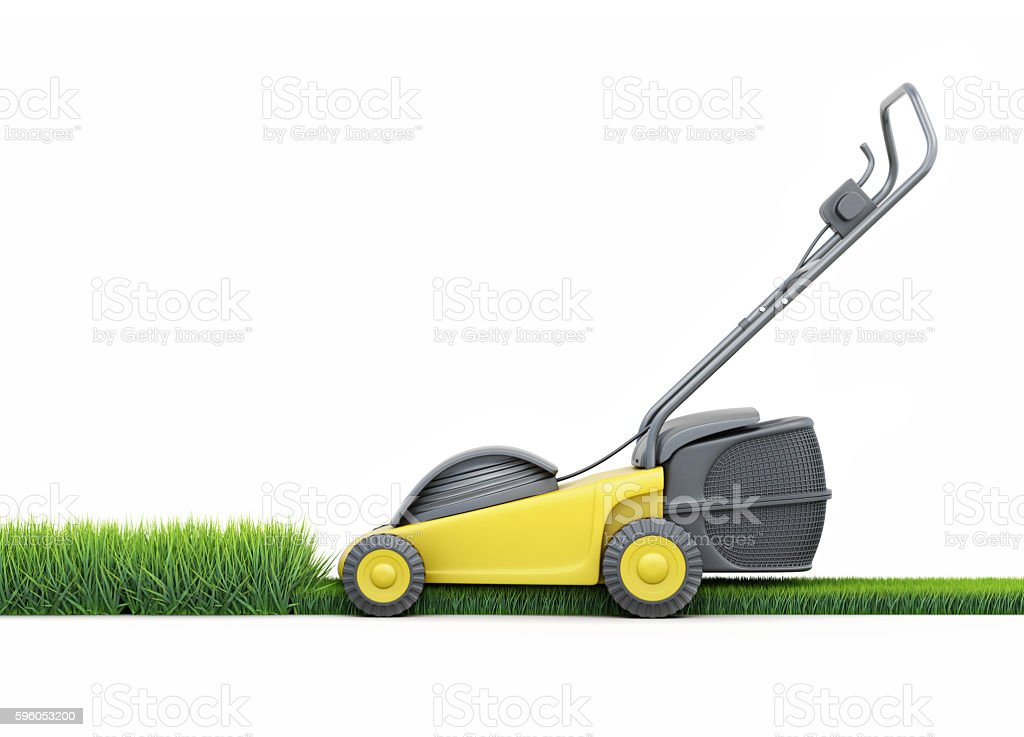 Lawn mower cutting grass isolated on white background. 3d render stock photo