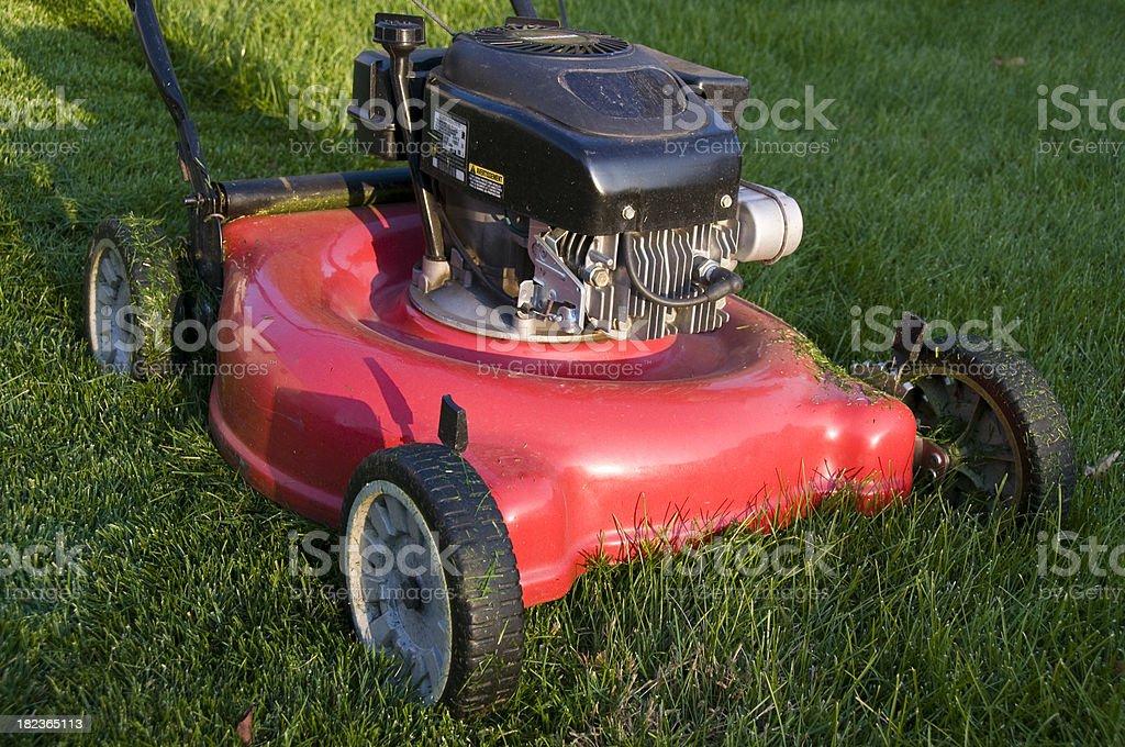 Lawn Mower in Backyard stock photo