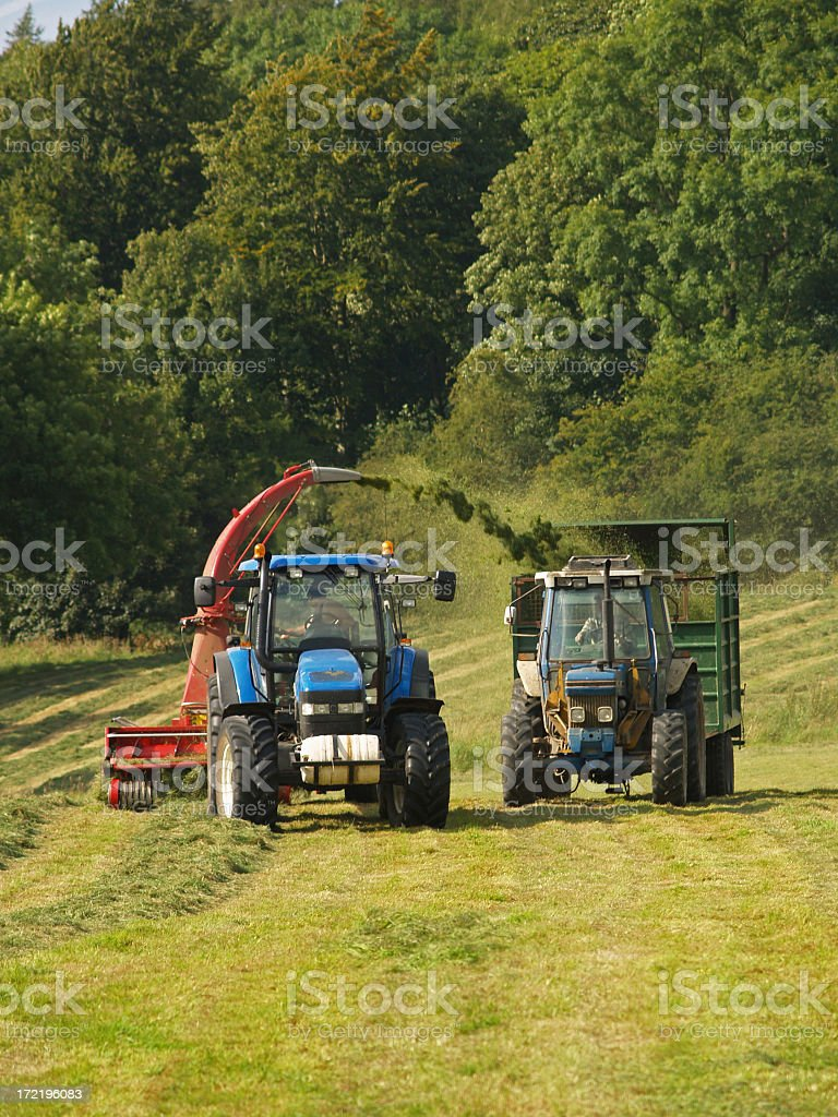 Lawn mowers collecting grass on a farm royalty-free stock photo