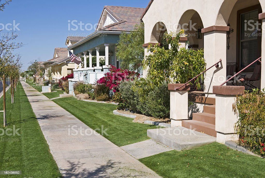 Lawn mowing day in planned community royalty-free stock photo