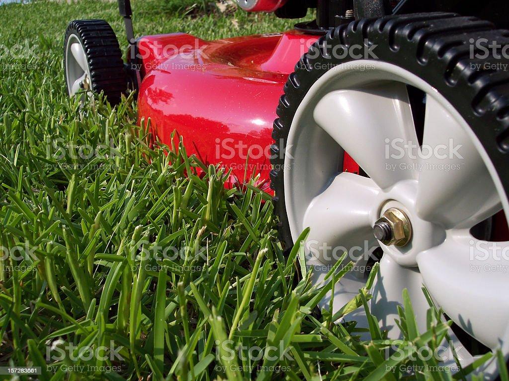 Lawnmower Cutting Grass - Macro Side View stock photo