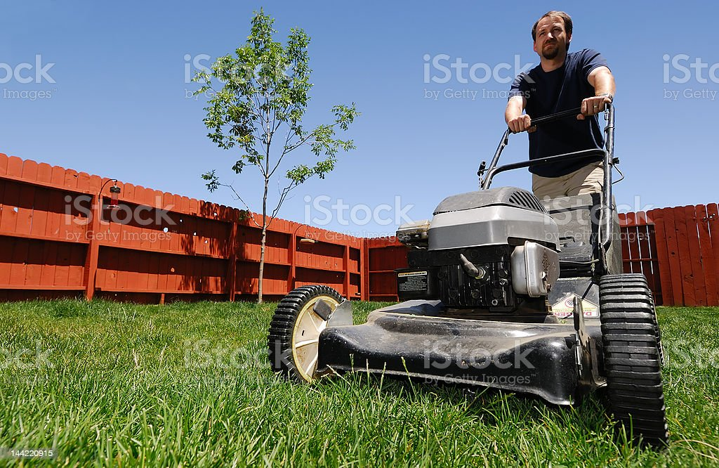 Lawnmower Man stock photo