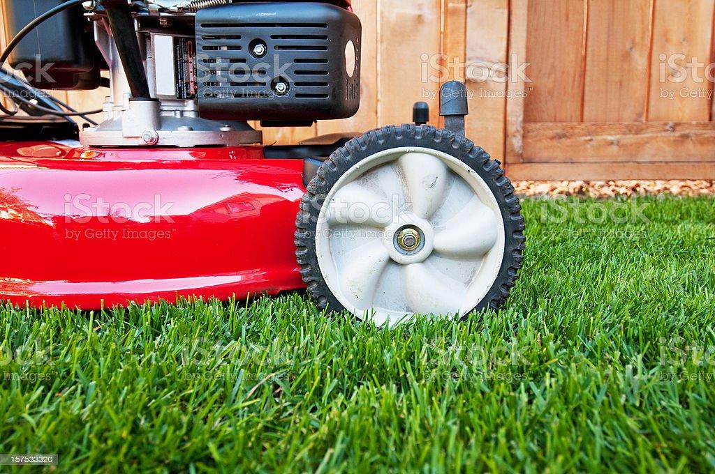 Lawnmower on lush green lawn stock photo