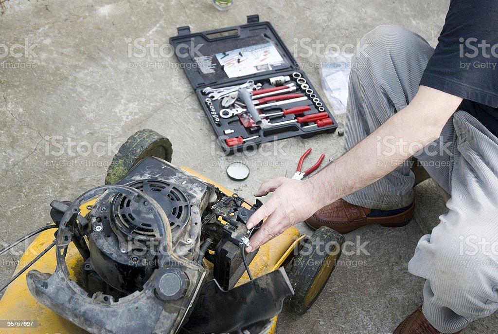 Lawnmower repair stock photo