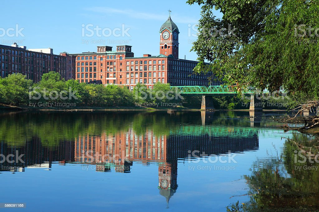 Lawrence Massachusetts Mills along the Merrimack River stock photo