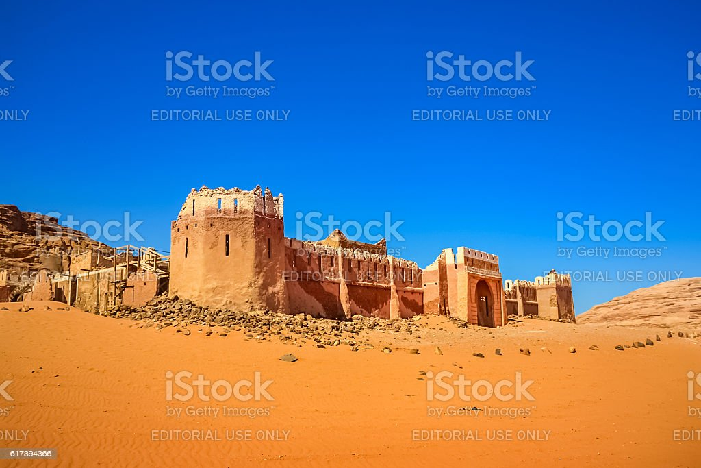 Lawrence of Arabia Movie Set Castle Wadi Rum Desert Jordan stock photo