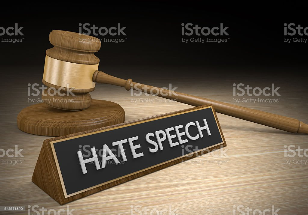 Laws against hate speech and other inciteful language, 3D rendering stock photo