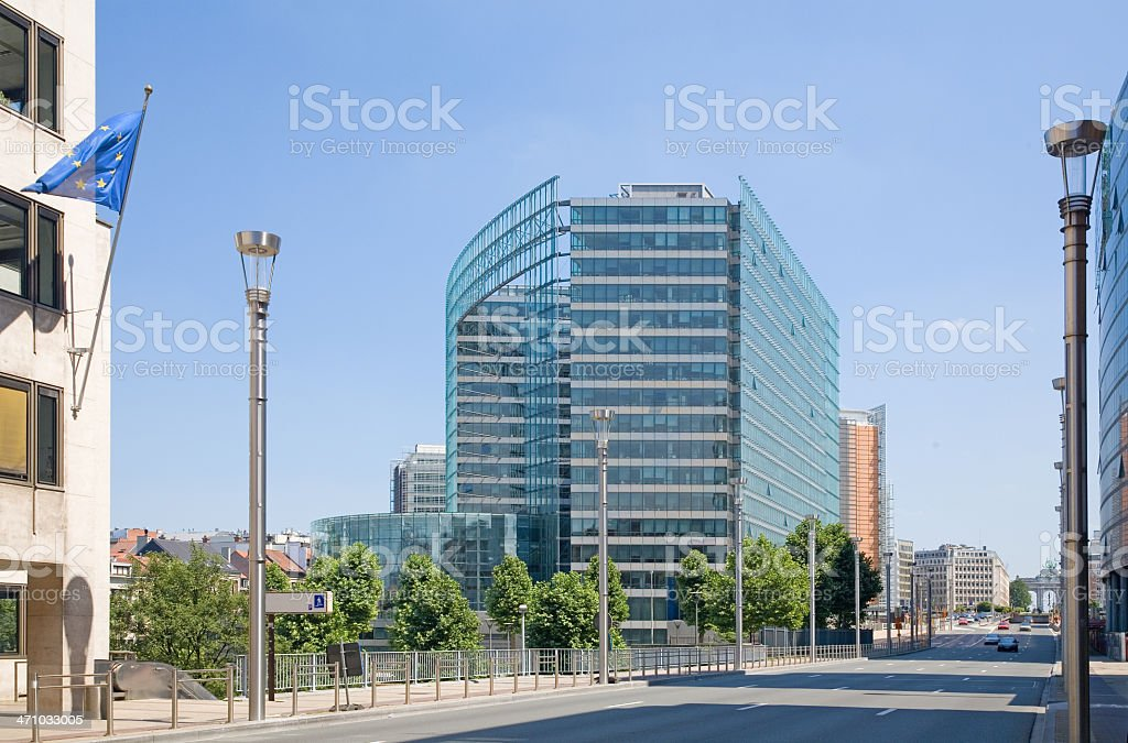 Law-street in Brussels, with European commission stock photo