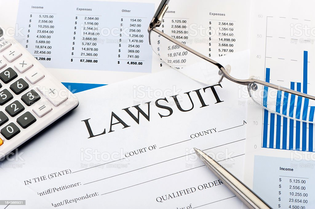 Lawsuit form an a desk stock photo