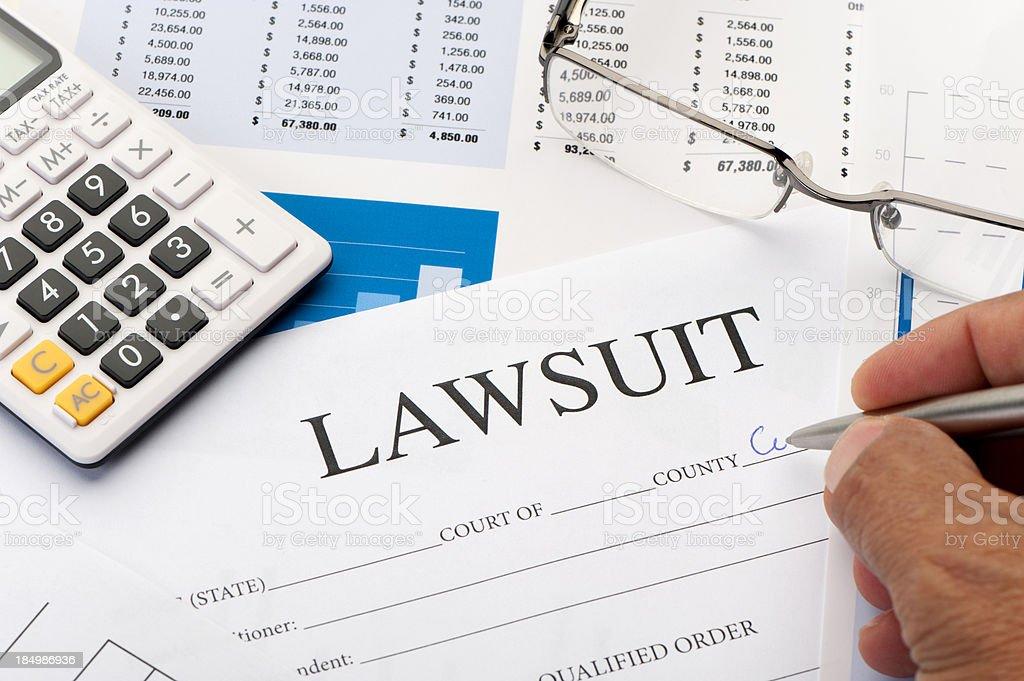 Lawsuit form an a desk stock photo