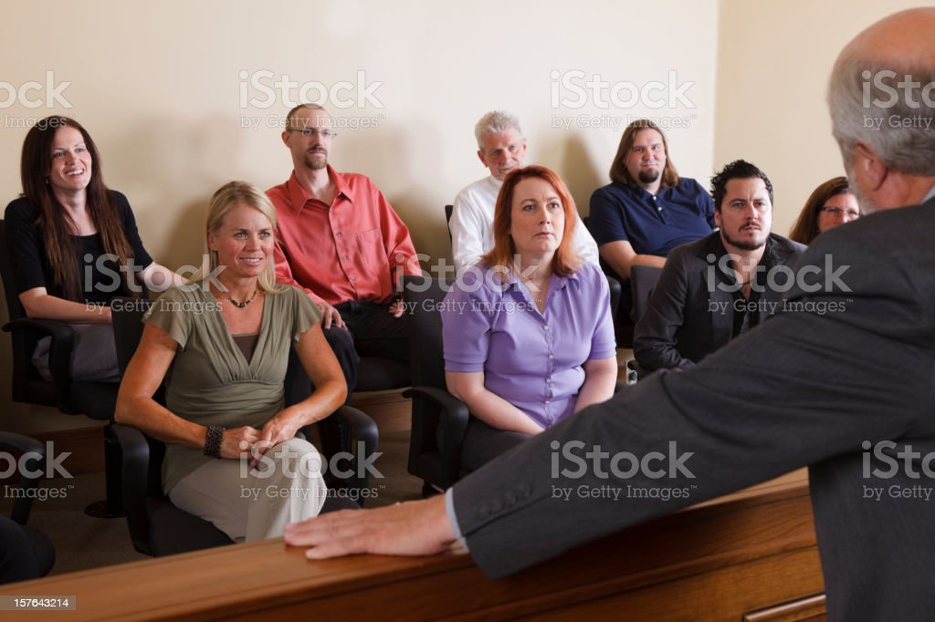 Lawyer Addressing the Jury stock photo