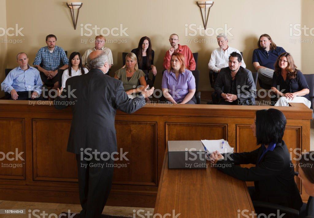 Lawyer Addressing the Jury stock photo