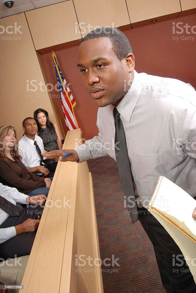 Lawyer and jurors royalty-free stock photo