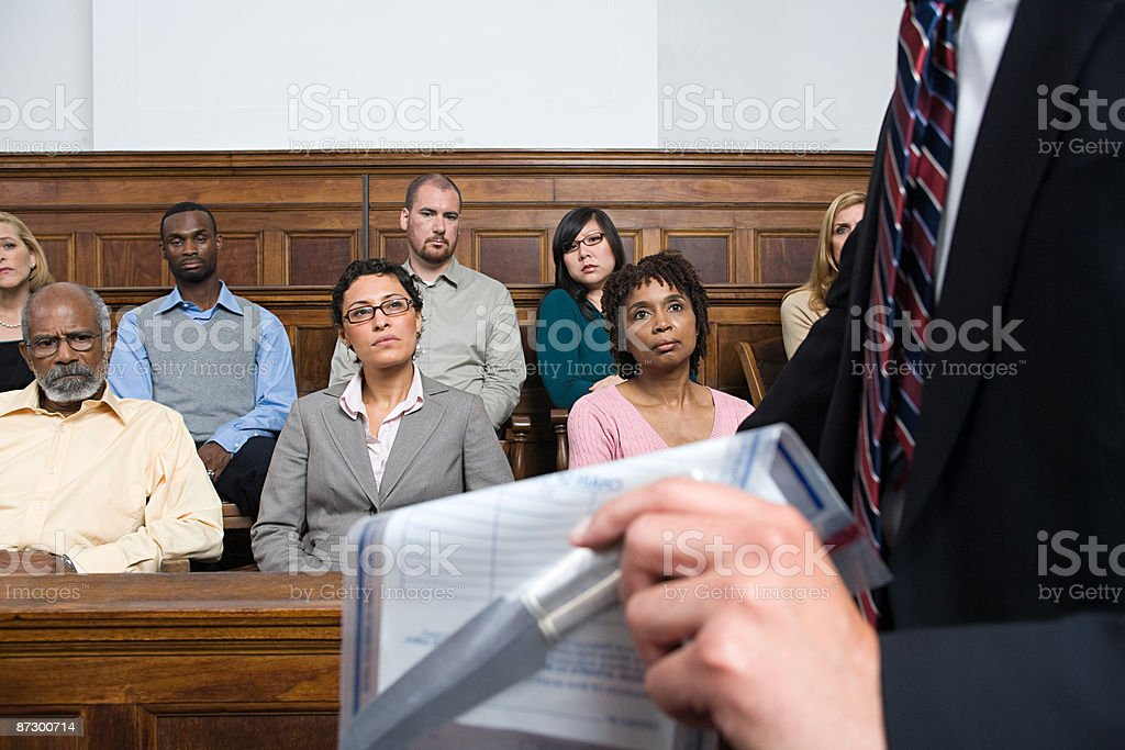 A lawyer and the jury stock photo