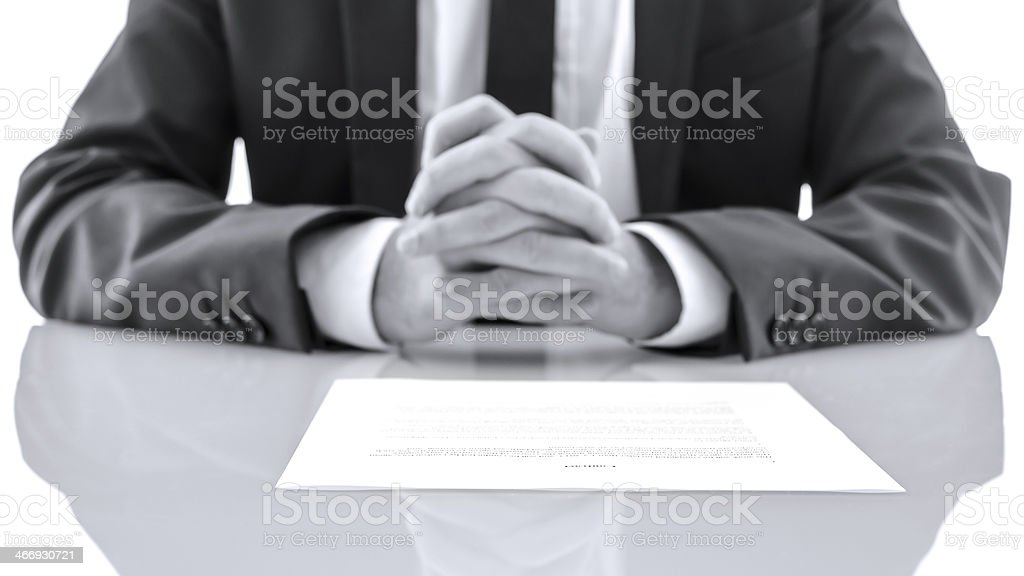 Lawyer at his desk stock photo