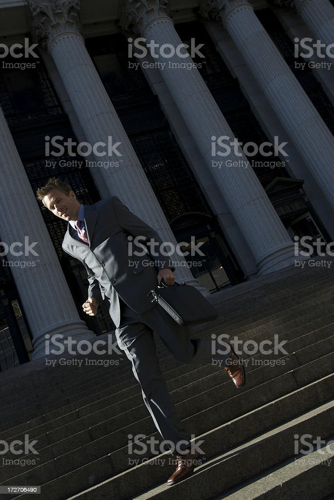Lawyer Businessman Politician Running Down Courthouse Steps royalty-free stock photo