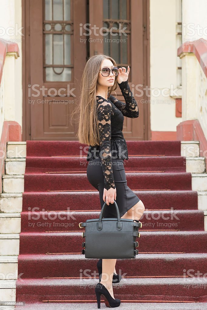 Lawyer businesswoman professional walking up the stairways stock photo