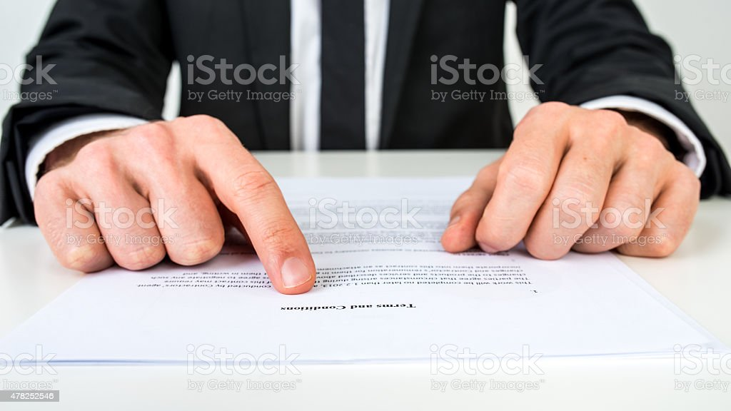 Lawyer explaining terms and conditions stock photo