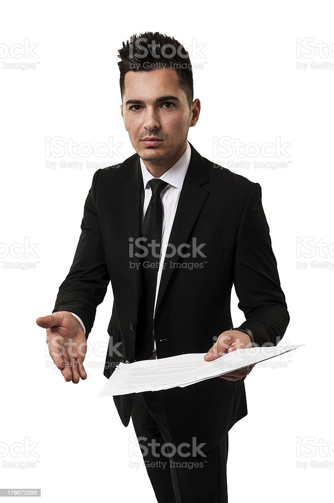 Lawyer inviting you to see a contract royalty-free stock photo