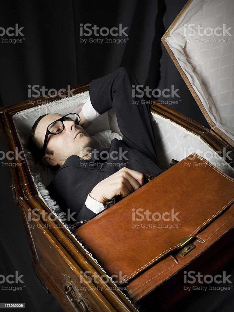 Lawyer Lying In Coffin royalty-free stock photo