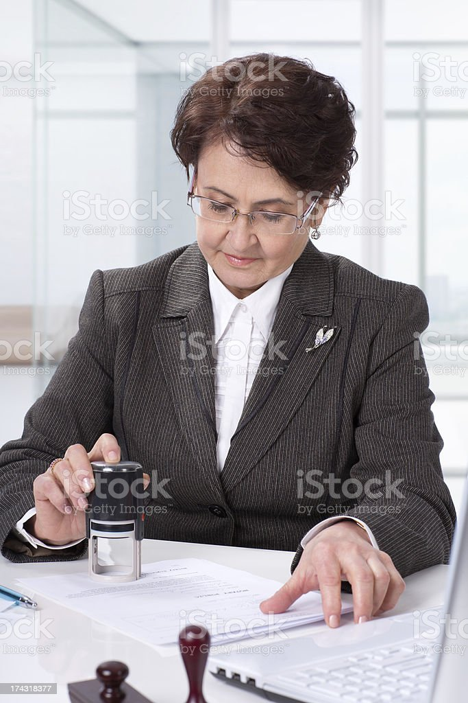 Lawyer on his workplace Signing contract royalty-free stock photo