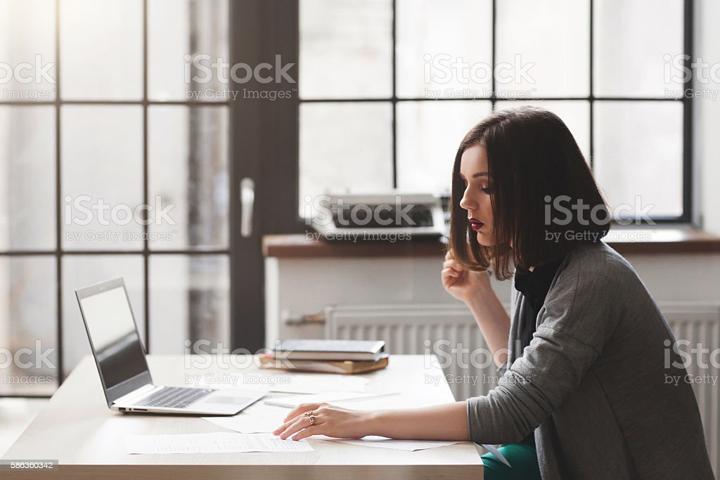 Lawyer or notary public working with documents stock photo