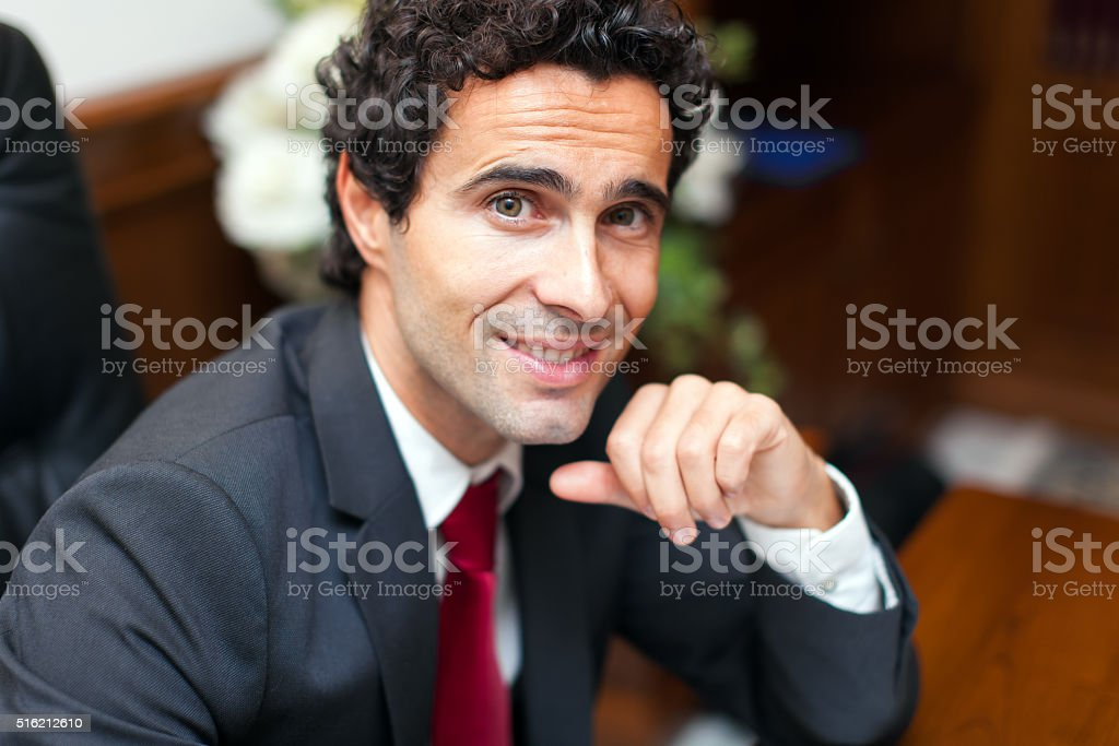 Lawyer portrait in his studio stock photo