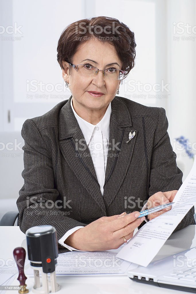 Lawyer woman working at her office royalty-free stock photo
