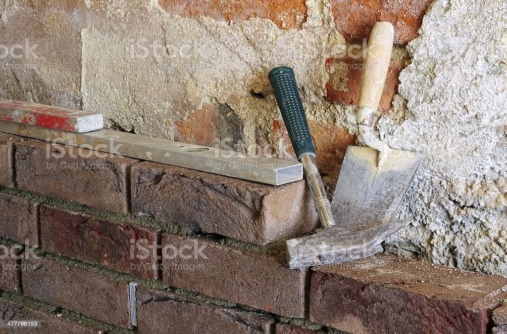 lay a brick wall royalty-free stock photo