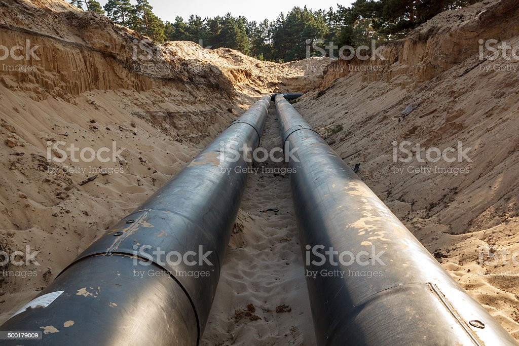 Layed pipeline construction stock photo